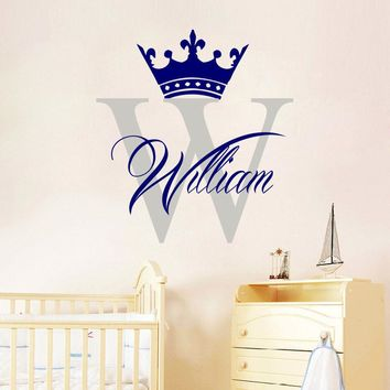 Creative Design Crown Large Frame Wall Stickers For Kid Room Custom Name Decals Fashion Bedroom Art Vinyl Mural Home Decor SA302