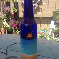 Sunny Beach hand-painted bottle lamp BATTERY powered