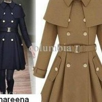Blue Coat - Fashion Korea COAT Women's double-breasted | UsTrendy