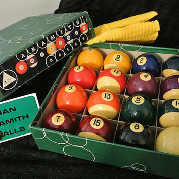 Belgian Aramith Billiards Pool Balls Made in Belgium 1940s Bakelite Cast Phenolic Resin With Original Box Man Cave Game Room Pool Table