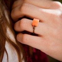 Red Aventurine Square Ring with Vintage Bronze Wire
