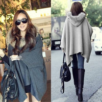 Warm Casual Womens Cape Black Batwing Wool Poncho Jacket Lady Winter Warm Cloak Coat = 1929616260