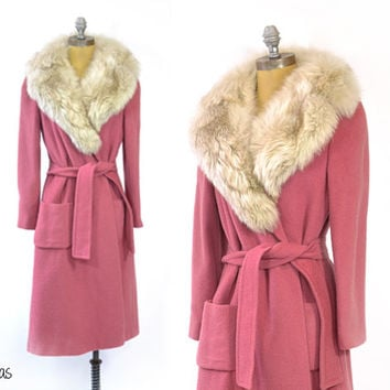 Vintage 1960s Pink Coat • Pink Fur Collared Coat • Fur Collar 60s Coat • Belted Coat • Full Length Long Coat • Vintage Wool Coat • Pink Wool