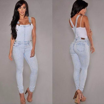 Light Blue Denim Suspender Jumpsuit