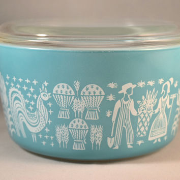 Pyrex Butterprint Covered Round Casserole #473 1 Quart