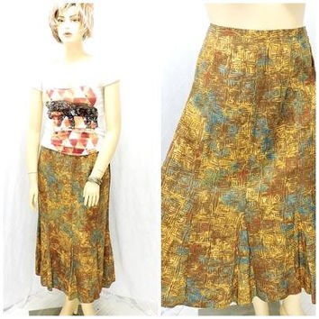 Fall bronze brown 80s skirt / size XL / 16 / 1980s long flare skirt / Christopher & Banks / retro boho brown maxi skirt / SunnyBohoVintage
