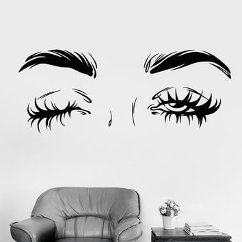 Vinyl Wall Decal Sexy Eyes Winking Eyelashes Fashion Girl Stickers Unique Gift (1163ig)