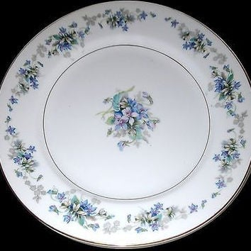 Violette Noritake Porcelain Plate SET of 8  Dinner Dessert Blue White #3054