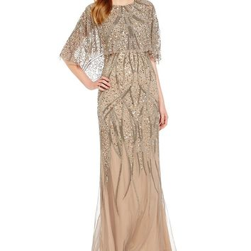 Adrianna Papell 3/4 Sleeve Beaded Popover Gown | Dillards
