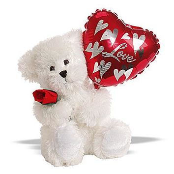 Plush - Love White Teddy Bear with Metallic Balloon