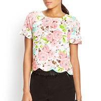 FOREVER 21 Textured Floral Boxy Top Neon Pink/Cream
