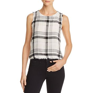 Bella Dahl Frayed Plaid Button-Back Tank