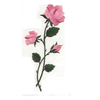 Pink Roses Easter Iron-on patch Sew on embroidered patches sew-on by capital city patch CO