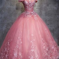 Ball Gown Off-the-Shoulder Tulle Wedding Dress With Appliques Tulle Prom dress H4840