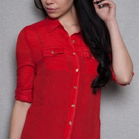 ICY Drops Of Gold Roll Sleeve Button Up Top - Red