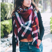 Heart Breaker Blanket Scarf - Navy