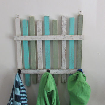 Coastal Beach Fence Hook Rack. Towel Rack, Coat Rack. Sand Fence Jewelry Hook Rack
