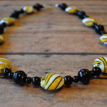 Missouri Tigers/Pittsburgh Steelers Sports Inspired Chunky Beaded Necklace - Black, Yellow, and White