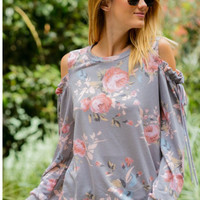 Floral cold shoulder sweater