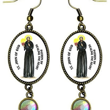 "Saint John of God Patron of Healing the Heart Antique Bronze Gold Iridescent Rhinestone Long 2 1/2"" Dangling Earrings"