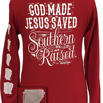 Arkansas Raised, Jesus Saved Southern Raised Chevron State Girlie Bright Long Sleeves T Shirt