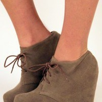 Walk This Way Lace-Up Bootie - Taupe at Nectar Clothing