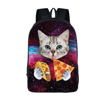 Kawaii 3D Cat Backpack - Cat Eating Tacos & Pizza Bookbag & Other Varieties