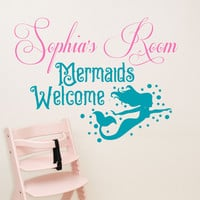Mermaid decal, by Decor Designs Decals, girls mermaid decal, girls wall decal, girls decals, Mermaids welcome, room sign, decal, starfish, kids wall deals AU20