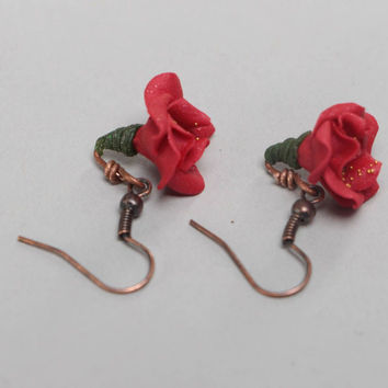 Long earrings made of polymer clay with red poppies flowers handmade accessory