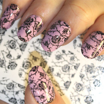 Free Shipping - BLACK ROSES on Clear Nail Art Wrap (RTB) Waterslide Transfer Decals - Not stickers or vinyl