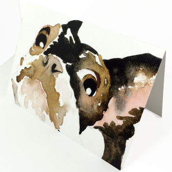 Pack of 10 Boston Terrier greeting cards with envelopes, 10 pack watercolor doggie stationary, Pack of ten doggie watercolor note cards