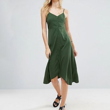 ASOS TALL Midi Button Through Sun Dress With Dipped Hem at asos.com