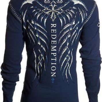 Licensed Official Archaic AFFLICTION Men THERMAL Whipstitch Shirt SPINE WINGS Tattoo Biker UFC $58
