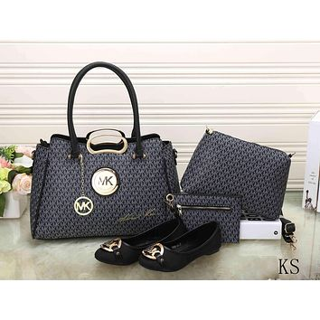 MK Women Shopping Leather Tote Handbag Shoulder Bag Purse Wallet Single shoe Set Four-Piece G-KSPJ-BBDL