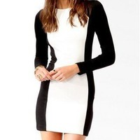 Elegant Women's black and white mosaic Contrast color long sleeve Slim dress NEW