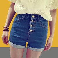 Denim Shorts Summer Ripped Holes Slim Plus Size Pants Jeans [4920641988]