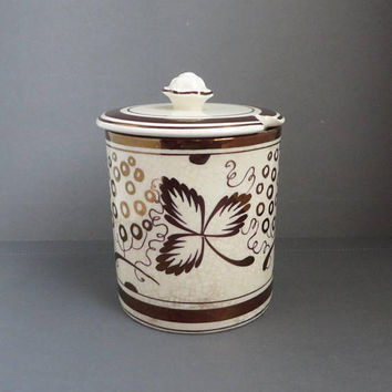 Vintage Gold Luster Mustard Jar - Gray's Pottery Mustard Pot, British Hand Painted Pottery, Collectible Jar