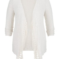 Plus Size - Open Stitch Crochet Hem Blanket Cardigan - Beige