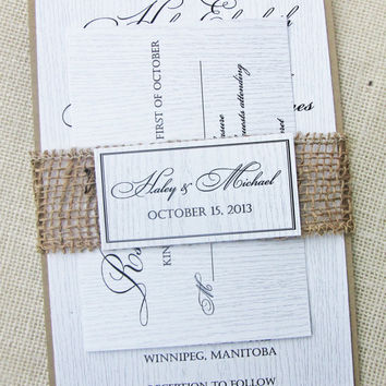 Wood and Burlap Woodland Rustic Country Wedding Invitation