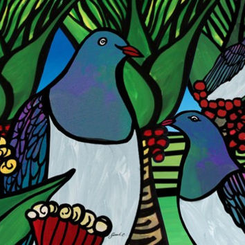 Sarah C Art Blocks  : Kereru