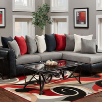 Victory 2pc Sectional - Red/Black/Gray