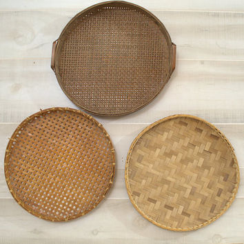 Large Round Wood Flat Basket, Woven Rattan Tray with Handles,  Brown Wicker Wall Basket