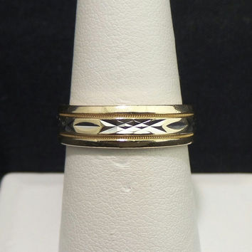 Heavy Artcarved Solid 14K Yellow Gold 6mm Fancy Etched Wedding Band - Size 8