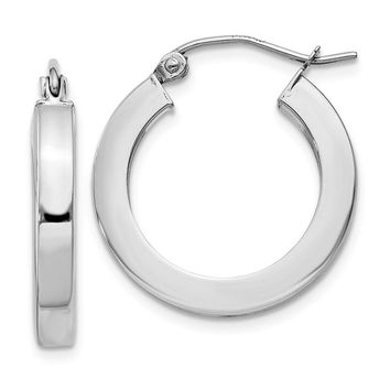 3mm, 14k White Gold Square Tube Round Hoop Earrings, 20mm (3/4 Inch)