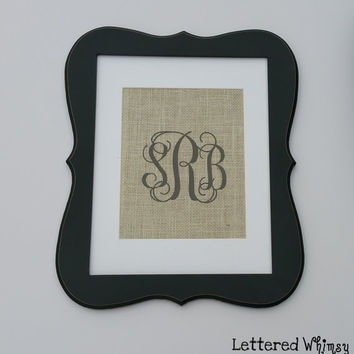Burlap Monogram Decor Interlocking Vine Monogram Script - PRINT ONLY