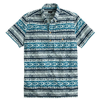 J.Crew Mens Short-Sleeve Popover Shirt In Baltic Blue Batik