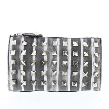 Striped Studded Canvas Cosmetic Clutch