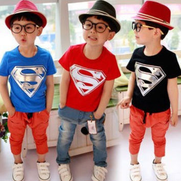 Boys T-Shirt Sipdeman T Shirts Superman Clothes T-Shirts for Girls Boys Children's Clothing Kids Baby Boy Girl Clothes T shirts