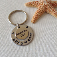 Awesome dad keyring, fathers day gifts, gifts for dad, gifts for him, name keyring, family keyring, new dad keyring, personalized keyring