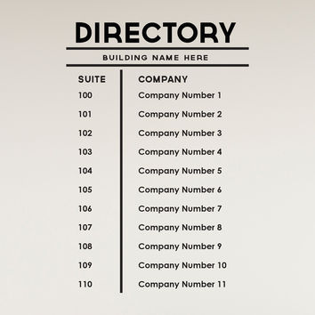 Custom Business Building Directory Sign